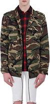 "Saint Laurent Men's Cotton ""Love""-Appliquéd Field Jacket-DARK GREEN"