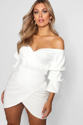 boohoo Plus Off The Shoulder Wrap Bodycon Dress