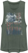 Fifth Sun Unbranded Juniors' American Flag Scenery Stencil Graphic Muscle Tee