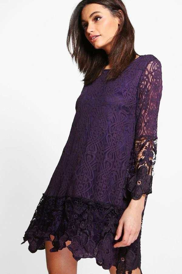 boohoo Flower Lace Long Sleeve Smock Dress