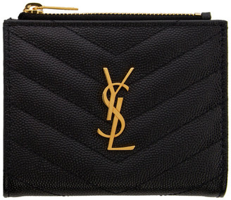 Saint Laurent Black Zipped Monogramme Wallet