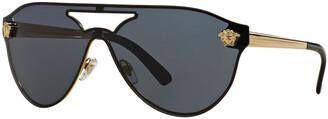 Versace Mirrored Shield Brow-Bar Sunglasses
