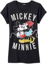 "Disney Disney's Girls 7-16 ""Mickey & Minnie"" Glitter Graphic Tee"