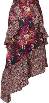 Anna Sui Butterflies And Bells Asymmetric Printed Silk-jacquard Midi Skirt