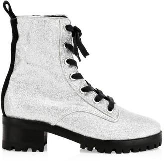 Schutz Poinsetia Glitter Combat Boots