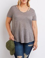 Charlotte Russe Plus Size Marled Cut-Out Tee