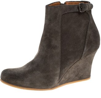 Lanvin Grey Suede Zip Wedge Ankle Boots Size 36.5