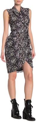 AllSaints Cancity Leopard Print Wrap Gathered Dress