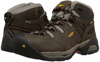 Keen Detroit XT Mid Soft Toe Waterproof (Black Olive/Leather Brown) Men's Work Boots