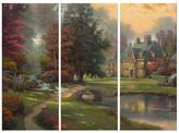 "Thomas Laboratories Kinkade Lakeside Manor Triptych Giclee Canvas, 3-Piece Set, 36""x16"""