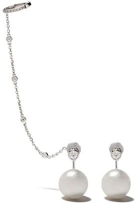 Yoko London 18kt white gold Novus South Sea pearl and diamond earrings