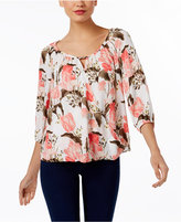 INC International Concepts Petite Floral-Print Surplice Peasant Top, Only at Macy's