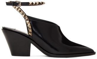 Valentino Black Garavani Patent Rockstud No Limit Slingback Heels