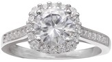 Women's Round Center Cubic Zirconia in Square Pave Setting -Clear/Gray