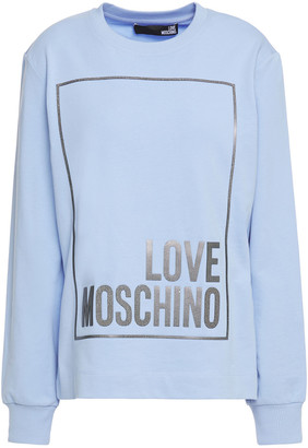 Love Moschino Appliqued French Cotton-blend Terry Sweatshirt