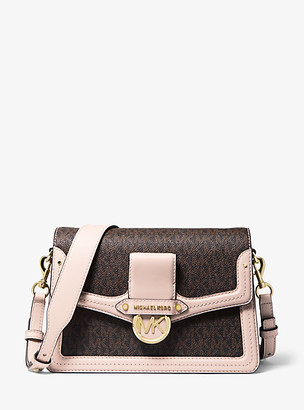 Michael Kors Jessie Medium Logo and Leather Shoulder Bag