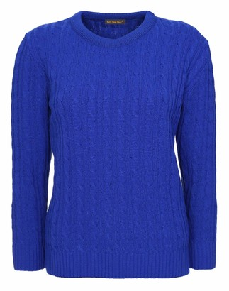 Lets Shop Shop New Womens Ladies All Over Chunky Cable Knit Long Sleeve Jumper Round Crew Neck Top Knitted Pullover Sweater Plus Size 10 12 14 16 18 20 (18-20