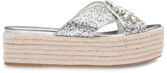 Miu Miu Crystal-Embellished Crossover Sandals
