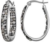 Confetti Gray Crystal Inside Out U-Hoop Earrings