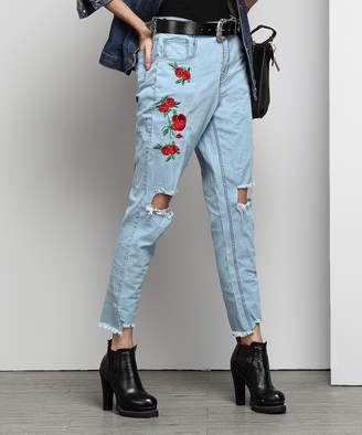Reborn Collection Women's Denim Pants and Jeans Indigo - Light Indigo Embroidered High-Waisted Jeans - Women