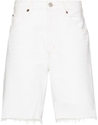 AGOLDE High Waist Raw Hem Denim Shorts