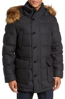 BOSS Men's T-Delta Relaxed Technical Down Jacket With Faux Fur Trim