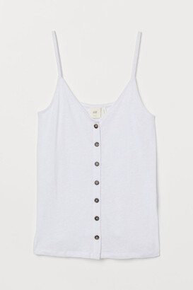 H&M Linen-blend Camisole Top - White