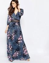 Little Mistress Floral Print and Lace Maxi Dress