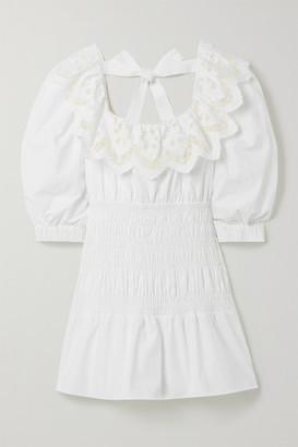 Self-Portrait Shirred Broderie Anglaise Cotton-poplin Mini Dress - White