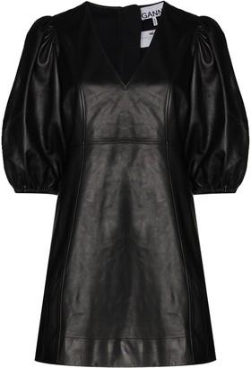Ganni V-neck puff-sleeve leather mini dress