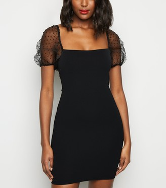 New Look Spot Organza Sleeve Bodycon Dress