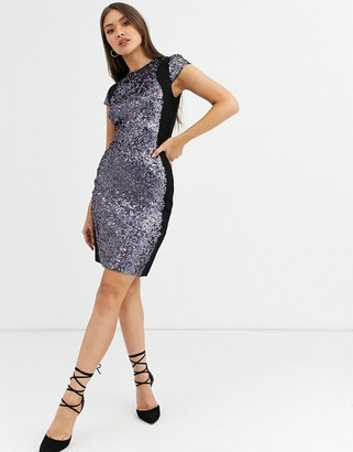 French Connection Lunar sparkle sequined pencil dress-Grey
