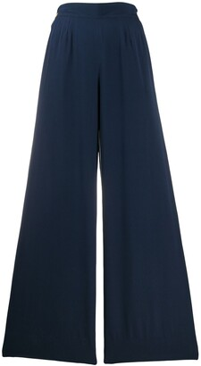 Chanel Pre Owned 1990s Silk Side-Buttoned Wide-Legged Trousers