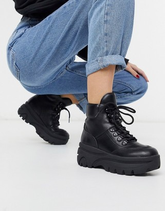 New Look sporty hiker boots in black