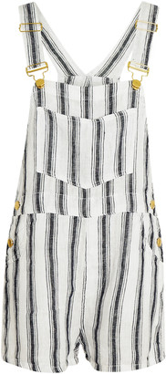 WeWoreWhat Basic Striped Linen Short Overalls
