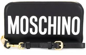 Moschino logo print zipped wallet