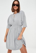 Missguided Tall Gray Cinched Waist Jersey Mini Dress