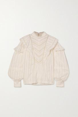 Etoile Isabel Marant Reign Lace-trimmed Ruffled Cotton-jacquard Blouse - White