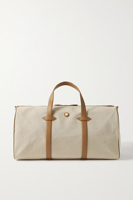 Paravel Main Line Duffel Leather-trimmed Canvas Weekend Bag - Cream
