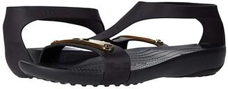 Crocs Serena Metallic Bar Sandal (Gold/Black) Women's Sandals
