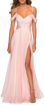 La Femme Cold-Shoulder Long Chiffon Gown with Slit