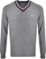 Fred Perry V Neck Knit Jumper Grey