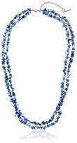"Kenneth Cole New York Denim Days"" Semiprecious Blue Chip Bead Multi-Row Long Necklace, 29.5"" + 3.5"" Extender"