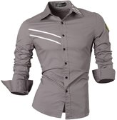 Jeansian Men's Slim Fit Long Sleeves Casual Shirts 0777