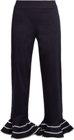 ANNA OCTOBER Ric-rac trimmed flared-hem cropped trousers