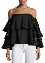 Caroline Constas Carmen Ruffle Off-the-Shoulder Top, Black Multi