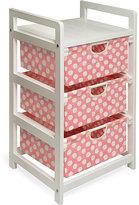 Badger Basket Pink Dot 3-Drawer Fabric/Wood/Metal Hamper and Storage Unit