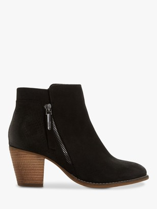 Dune Pontoon Wide Fit Nubuck Stacked Heel Ankle Boots, Black