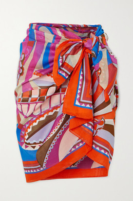 Emilio Pucci Printed Cotton-voile Pareo - Pink