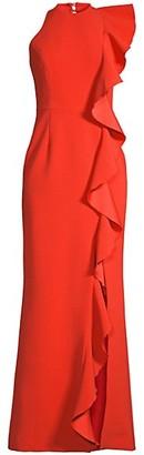 Rebecca Vallance Galerie Ruffle Trim Halter Gown